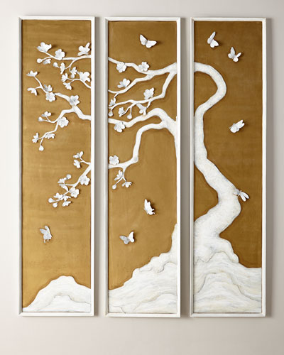 3-Panel Tree with Butterflies
