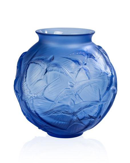 Lalique Hirondelles Medium Vase, Sapphire Blue