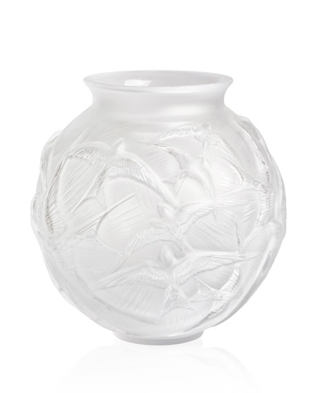 Lalique Hirondelles Medium Vase, Clear