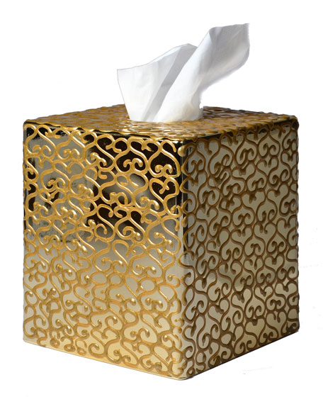 Jamila Golden Glass Tissue Box Cover