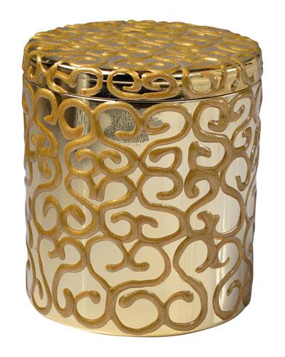 Jamila Glass Cotton Swab Jar, Golden