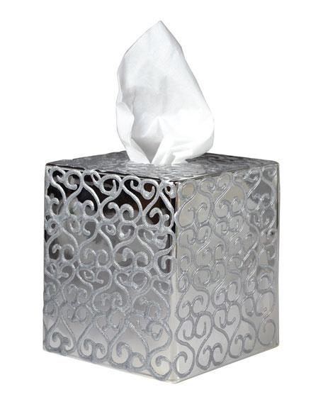 Jamila Glass Tissue Box, Silver