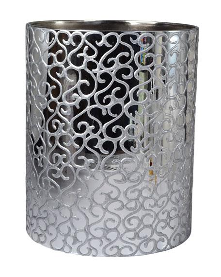 Jamila Glass Wastebasket, Silver