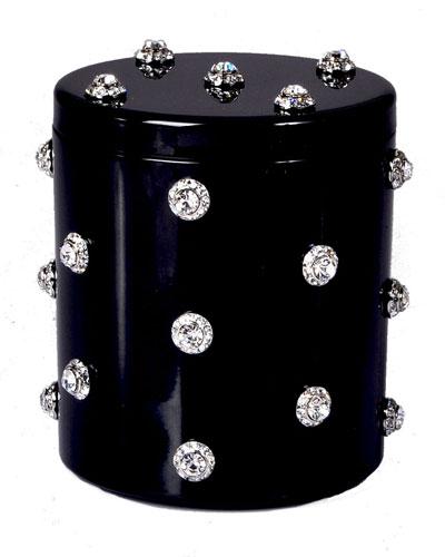Nova Glass Cotton Swab Jar with Stones, Black