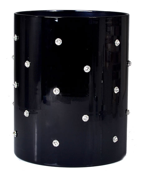 Nova Glass Wastebasket with Stones, Black