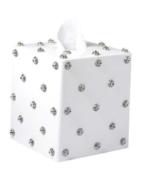 Nova Glass Tissue Box with Stones, White