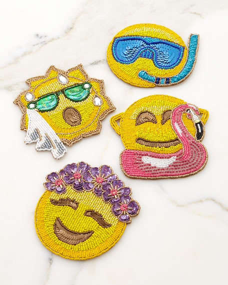 Kim Seybert Summer Emoji Coasters, Set of 4