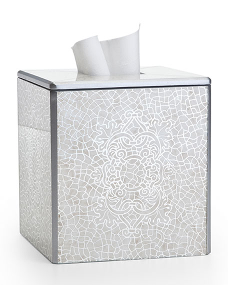 Labrazel Miraflores Tissue Box Cover, Silver and Matching