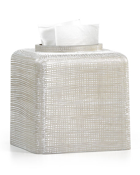 Woven Tissue Box Cover, Platinum