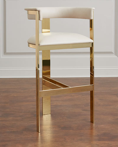 Darla Brass and Leather Counter Stool