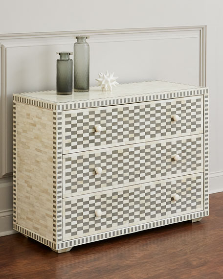 Kara Bone Inlay Three-Drawer Chest