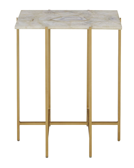 Blinn Agate Side Table, Ivory