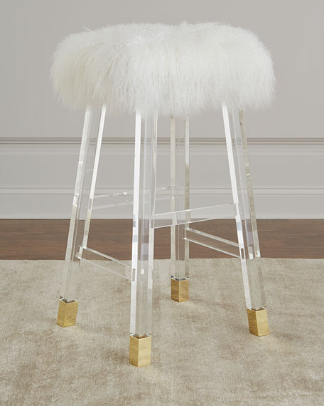 Interlude Home Darnell Acrylic and Sheepskin Bar Stool