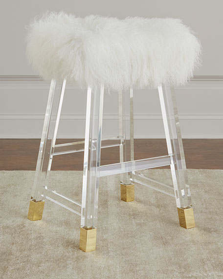Interlude Home Darnell Acrylic and Sheepskin Counter Stool