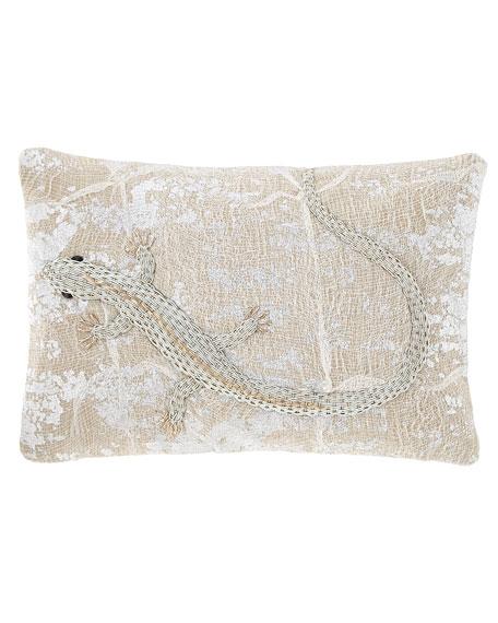 Palm Lizard Decorative Pillow
