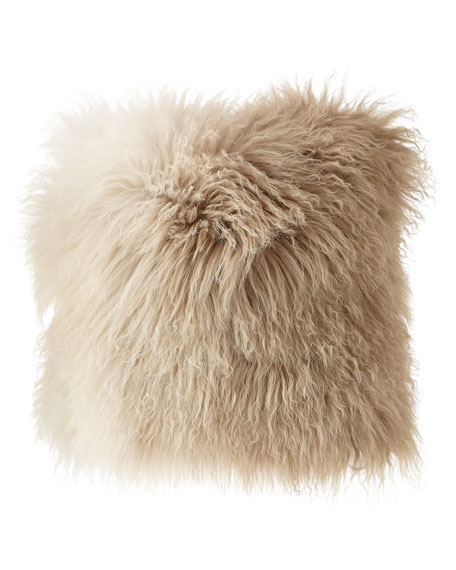 Dip Dye Curly Sheepskin Pillow