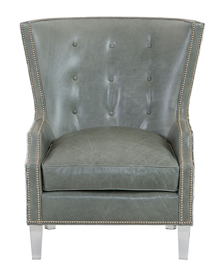 Viva Leather and Upholstered Wing Chair