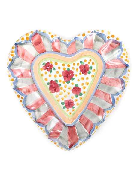 MacKenzie-Childs Cabbage Rose Heart Plate
