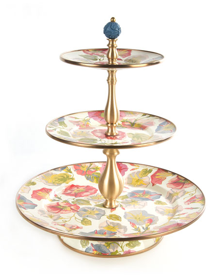 MacKenzie-Childs Morning Glory Three-Tier Sweets Stand and