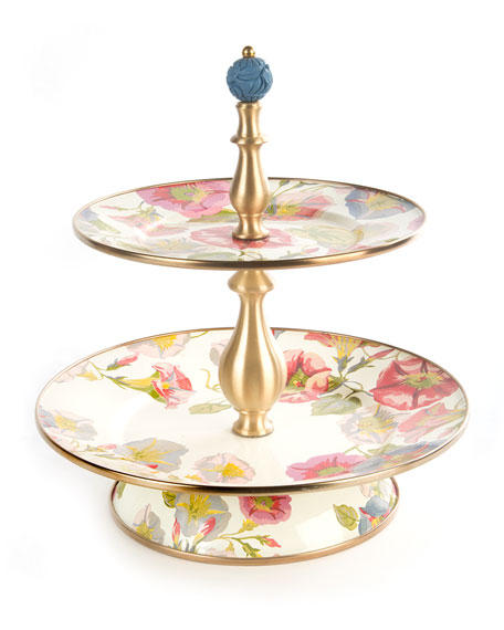 MacKenzie-Childs Morning Glory Two-Tier Sweets Stand