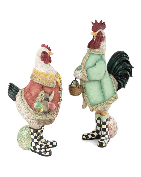 MacKenzie-Childs Courting Chickens, Set of 2