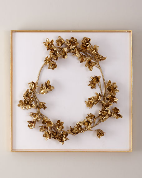 John-Richard Collection Golden Floral Crown on White Velvet