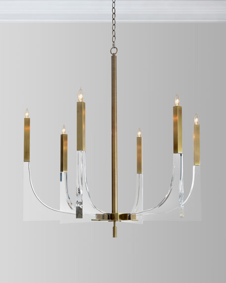 Acrylic Brass Finish Chandelier, 6 Lights