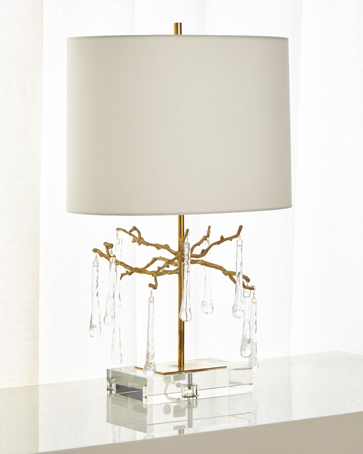 John Richard Collection Branched Crystal Table Lamp