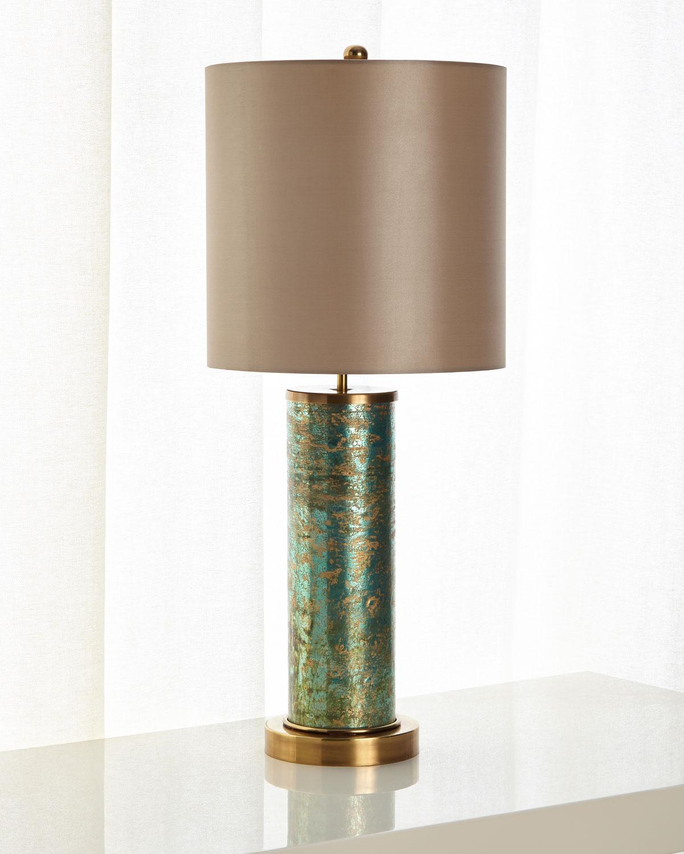 John Richard Collection Emerald Brass Table Lamp Neiman
