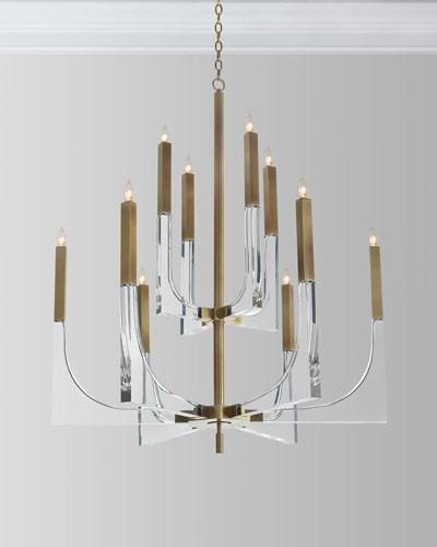 Acrylic Brass Finish Chandelier, 10 Lights