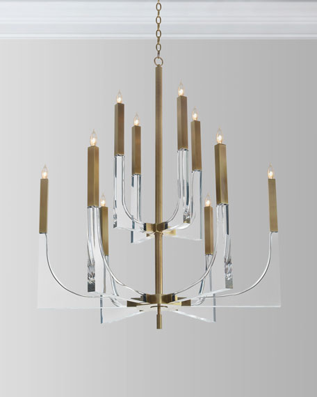 John-Richard Collection Acrylic Brass Finish Chandelier, 10
