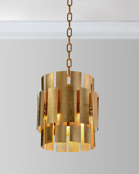 Panes of Gold Leaf Metal Drop LED = Light