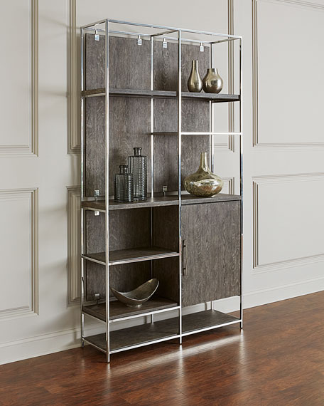 Astoria Stainless Steel and Wood Bookcase