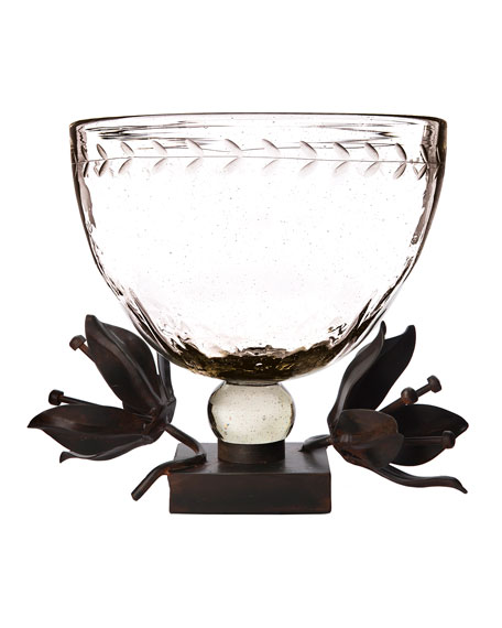 Clarity Serving Bowl with Forged Passion Flower Stand