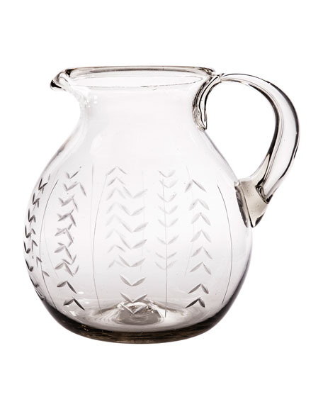 Jan Barboglio Floreado Mouth-Blown Glass Pitcher with Laurel