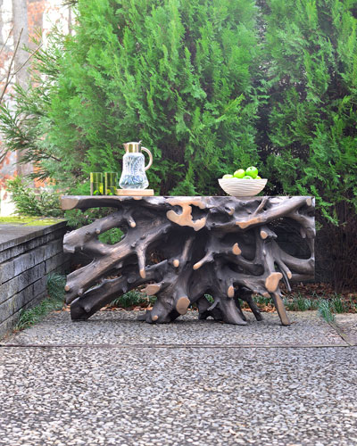 Bronze Cast Root Teak Outdoor Console Table
