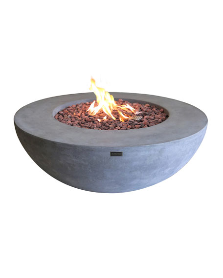Lunar Bowl Outdoor Fire Pit Table with Natural Gas Assembly