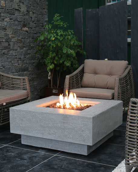 Manhattan Outdoor Fire Pit Table with Propane Gas Assembly