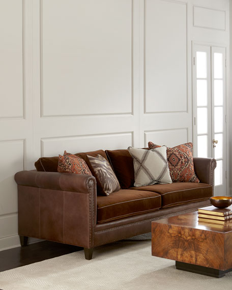 Durbin Leather and Mohair Sofa