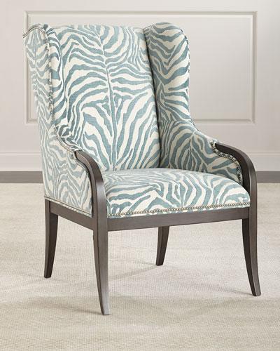 Cerulean Zebra Wing Chair