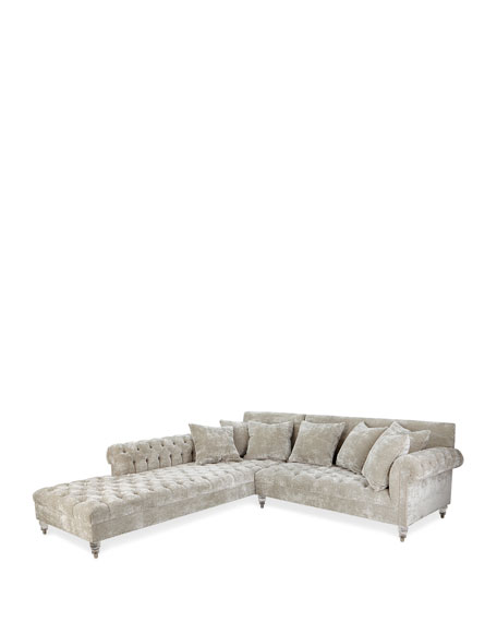 Image 2 of 2: Haute House Divine Crushed Velvet Left-Chaise Sectional