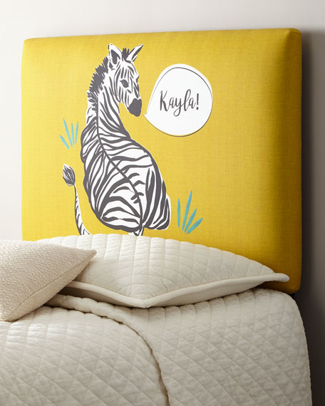 Zebra Twin Headboard, Personalized