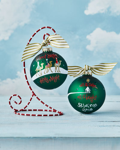 Silent Night Glass Ornament with Stand