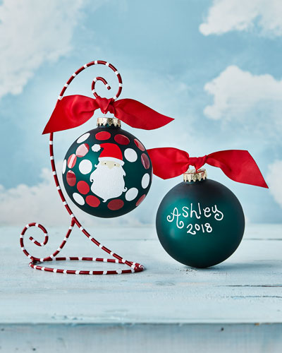 Ho Ho Santa Glass Ornament with Stand