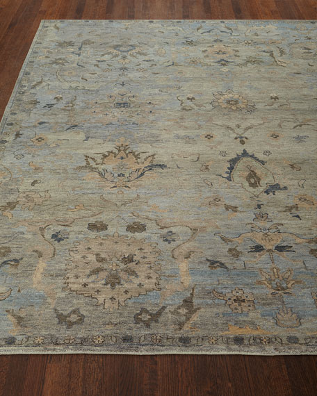 Cyan Sky Hand-Knotted Rug, 6' x 9'