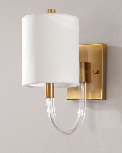 Antiqued Brass Wall Sconce with Acrylic Neck