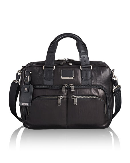 Alpha Bravo Albany Leather Slim Commuter Briefcase - Black
