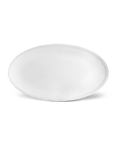 Corde Large Oval Platter, White