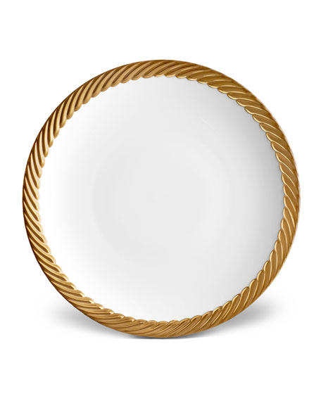 Corde Dinner Plate, White/Gold