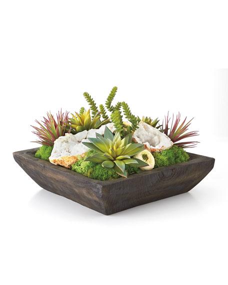Silk Succulents and Quartz Arrangement